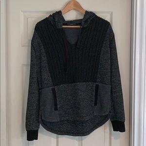 Grey/Black Knit Hoodie